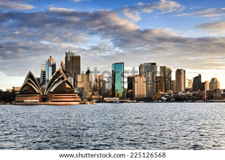 Australia sydney CBD panoramic view from Kirribilli before sunset cloudy sky and bright cityscape line - stock photo