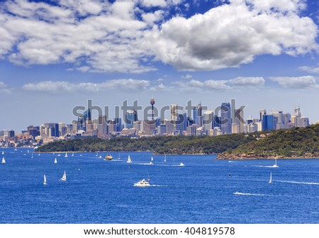 Australia Sydney city CBD distant view across harbour from North HEad on a sunny summer day - stock photo