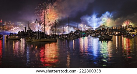 AUstralia Sydney city CBD, harbour and bridge at night celebration fireworks - stock photo