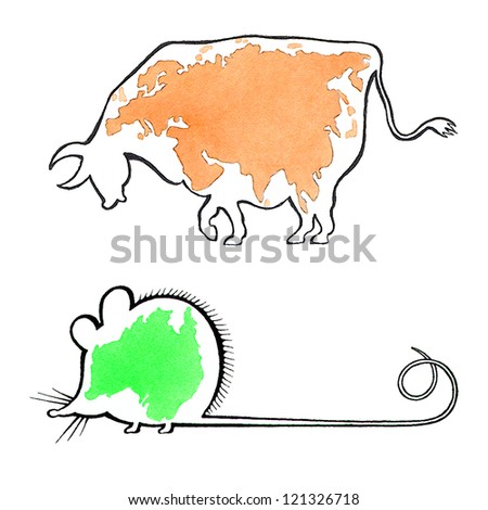 Australia - the smallest continent in the world. Eurasia - the biggest continent in the world. - stock photo