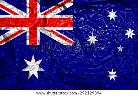Australia vintage flag on old crumpled paper background - stock photo