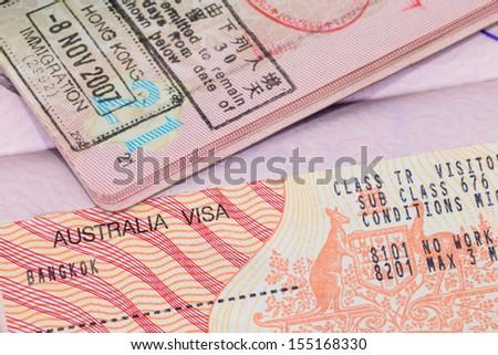 Australia visa in passport macro - stock photo