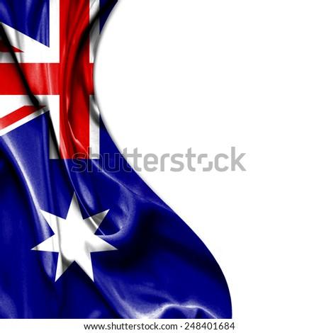 Australia waving silky flag isolated on white background - stock photo