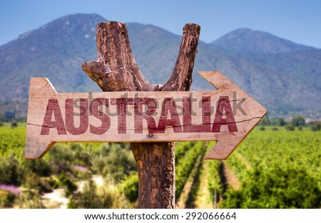 Australia wooden sign with winery background - stock photo