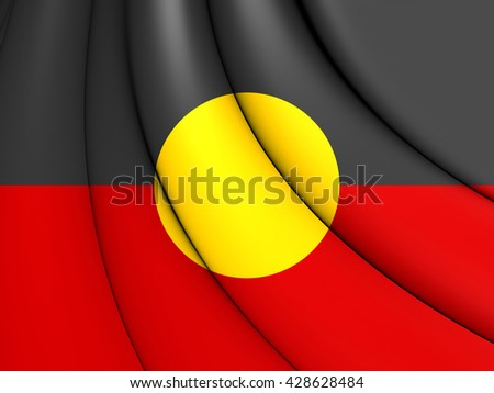 Australian Aboriginal Flag. Close Up. - stock photo