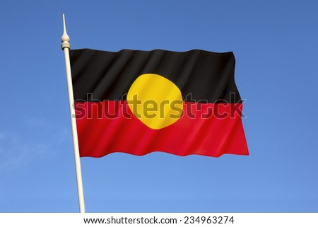 Australian Aboriginal Flag - Represents Indigenous Australians and holds special legal and political status.  - stock photo
