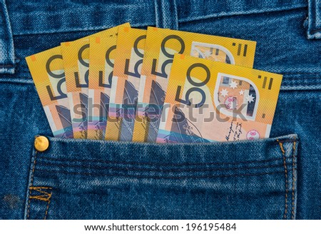 Australian Bank notes in jeans pocket - stock photo