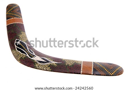 australian boomerang isolated on white background - stock photo