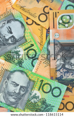 Australian currency background, notes include $100 and $50 - stock photo