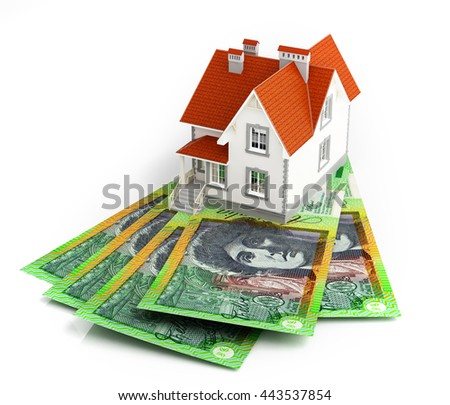 Australian dollar banknotes under house. 3d rendering. - stock photo