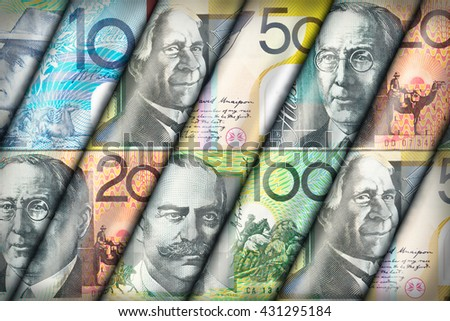 Australian Dollar bills creating a colorful background - stock photo
