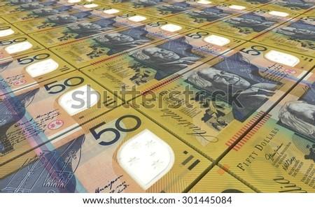 Australian dollar bills stacks background. - stock photo