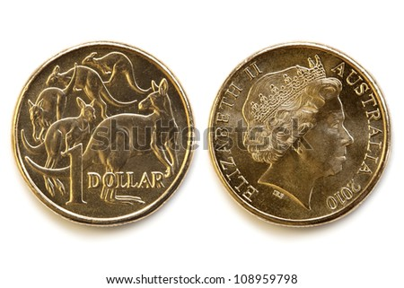 Australian dollar coin, front and back, isolated on white background with soft shadow. - stock photo
