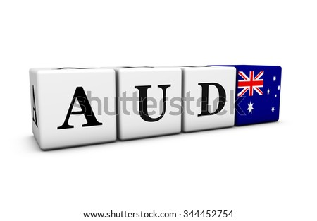 Australian dollar currency rates, exchange market and financial stock concept with AUD code sign and flag of Australia on cubes isolated on white background. - stock photo