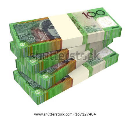 Australian dollar isolated on white background. Computer generated 3D photo rendering. - stock photo