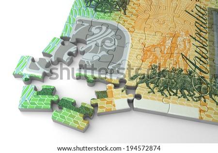 Australian Dollar Puzzle - stock photo