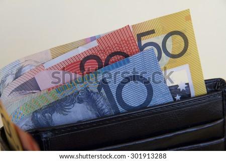Australian Dollars in a Wallet - stock photo