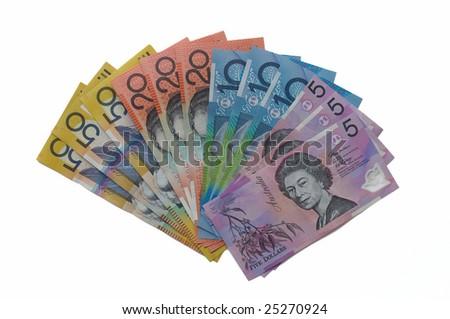 Australian dollars  isolated on white background - stock photo