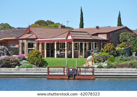 Australian family house, on the lake - stock photo