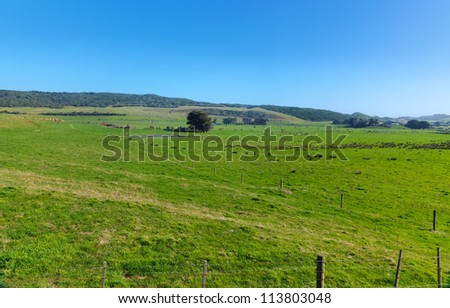 Australian Farmland With Blue Sky - stock photo