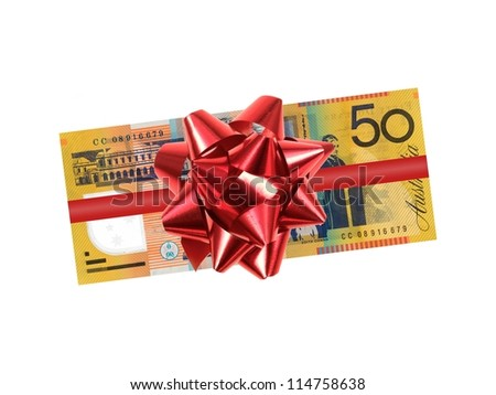 Australian fifty dollar note isolated against a white background - stock photo