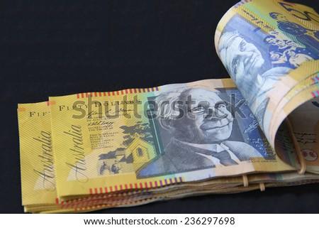 Australian Fifty Dollar Notes - stock photo
