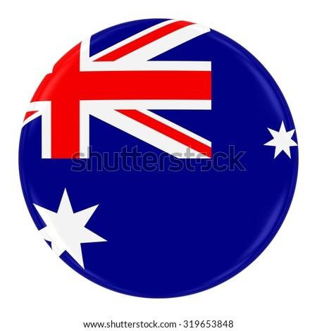 Australian Flag Badge - Flag of Australia Button Isolated on White - stock photo