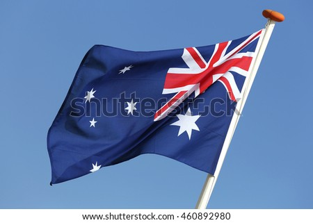 Australian flag blowing in the wind