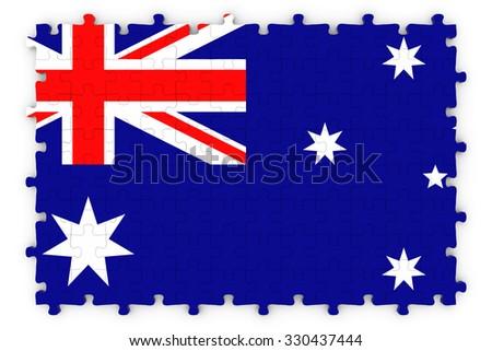 Australian Flag Jigsaw Puzzle - Flag of Australia Puzzle Isolated on White - stock photo