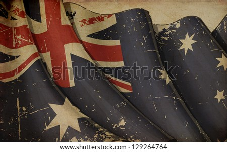 Australian Flag Old Paper - stock photo