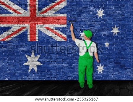 Australian flag painted over old brick wall by house painter