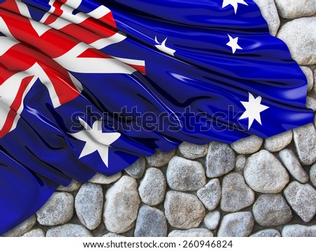 Australian Flag with stone - stock photo