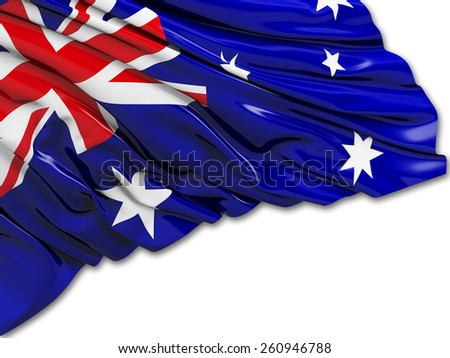 Australian Flag with white - stock photo