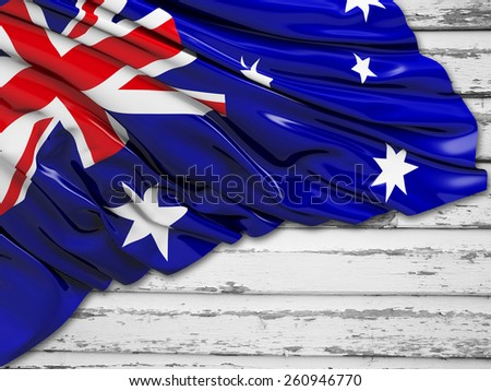 Australian Flag with wood - stock photo