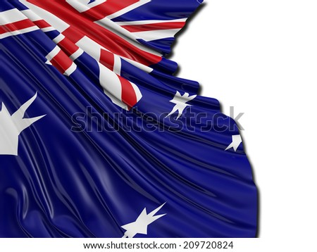 Australian Folded Flag with white - stock photo