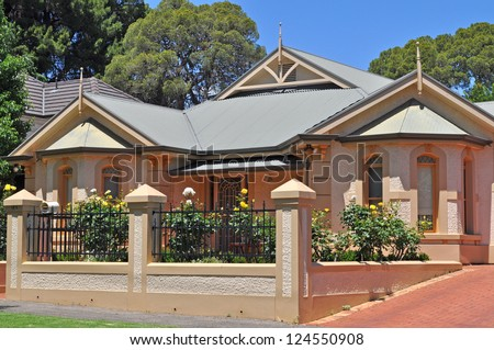 Australian house, vintage style. Exterior facade - stock photo