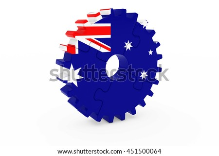 Australian Industry Concept - Flag of Australia 3D Cog Wheel Puzzle Illustration - stock photo