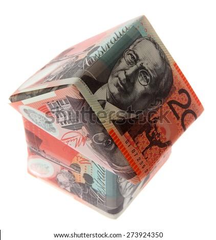 Australian Money - Aussie currency $20 house - stock photo