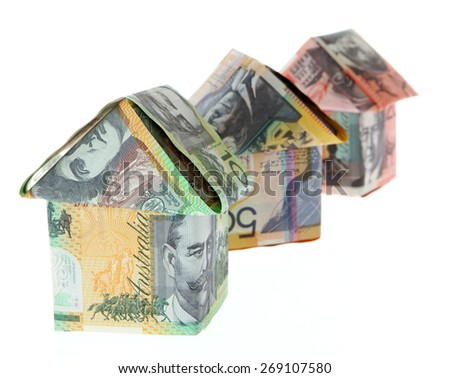 Australian Money - Aussie currency houses - stock photo