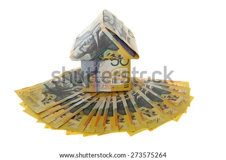 Australian Money - Aussie currency with house - stock photo