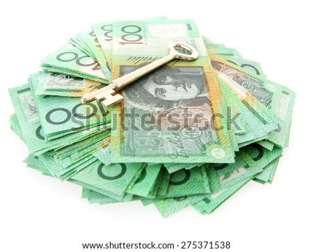 Australian Money - Aussie currency with key - stock photo
