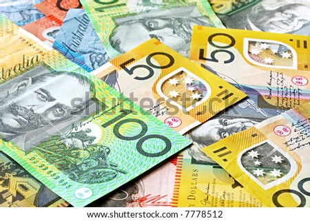 Australian money background.  Notes include $100, $50, $20 and $10. - stock photo