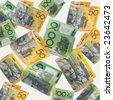 Australian money cascading down, over white background. - stock photo