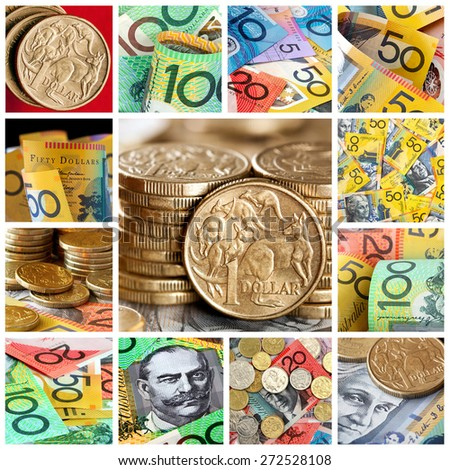 Australian money collection.  Collage of notes and coins. - stock photo