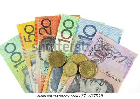 Australian Money concept for savings, spending, or 30th June End of Financial Year sale.  - stock photo