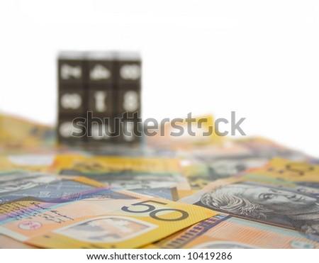 Australian money depth of field focus on 50 - stock photo