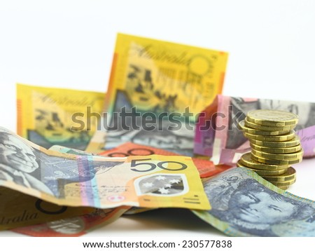australian money gold coins and notes  - stock photo
