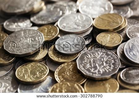 Australian money.  Scattered coins in full-frame background. - stock photo