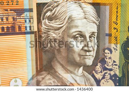 Australian $50 note close-up - stock photo