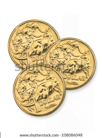 Australian one dollar coins - stock photo